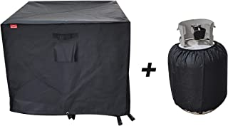 """BBQ Coverpro Gas Fire Pit Cover Square - Premium Patio Outdoor Cover Durable and 100% Waterproof,Fits for 30 inch,31 inch,32 inch Fire Pit/Table Cover,Black (Square 32"""" L x 32"""" W x 24"""" H)"""
