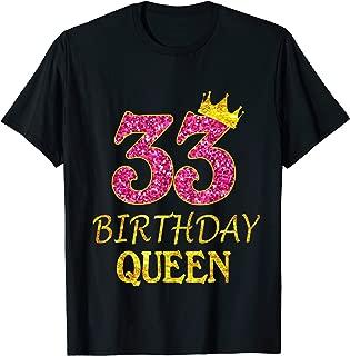 33 Years Old Birthday Queen Girl Shirt 33rd Birthday Pink