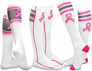 TeeHee Women Pink Ribbon Breast Cancer Awareness Cotton Knee High Socks 3-Pair Pack