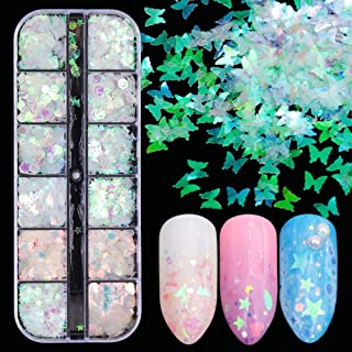Spijker glitter Holografische Mermaid Symphony Nail Art Glitter Pailletten Flake Tool Mixed Vorm 3D-doe-Manicure Decor Nag...