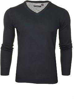 Mens Brave Soul Quazer Knitted Jumper V-Neck Long Sleeved Top Sweater