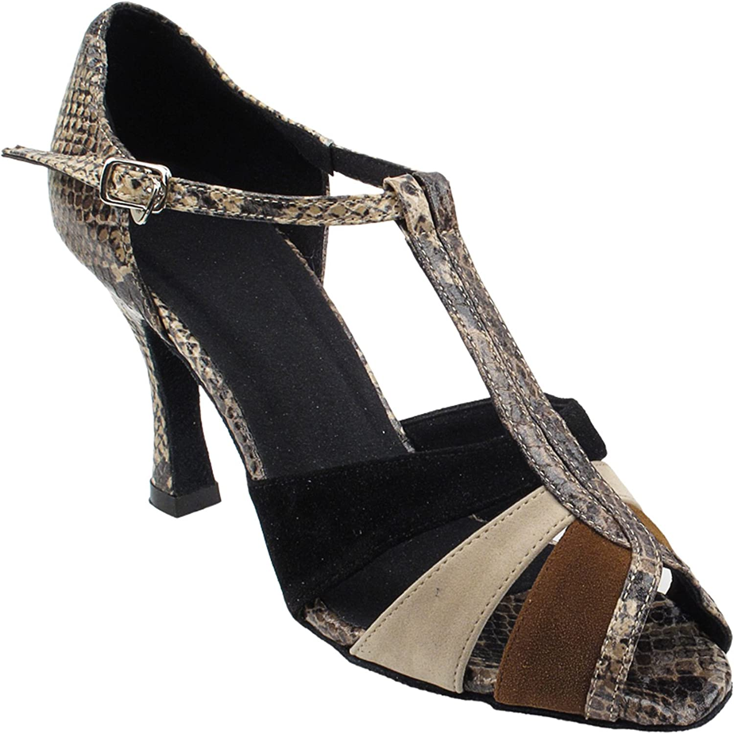 Party Party Beige Dance shoes  SERA7037 Brown Nubuck Snake, 2.5  Heel, Size 8