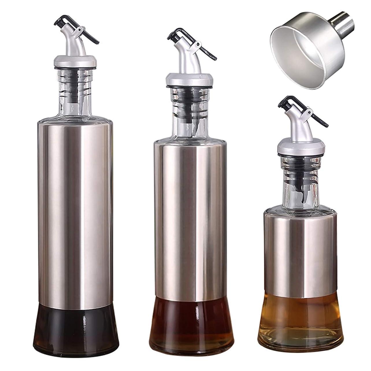 一方、満足させる甘味3パックのオイルと酢のディスペンサー、漏れのないオリーブオイルのボトル容器、キッチン調理用調味料クルート、ステンレス鋼と鉛フリーガラス、漏斗付き