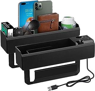 Storage Box for Car, 2 Pack Car Side Pockets Organiser, Centre Console Organiser, Car Seat Armrest Holder Car Shelf - Rech...