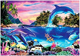 100 Pieces Dolphin Jigsaw Puzzles for Adults Grown Up Landscape Puzzles Large Size Toy Games Gift 100 PCS Dolphin DIY Home Decor