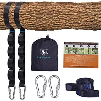 pys Tree Swing Straps Kit-Two Adjustable (20loops Total) Straps Hold 2000lbs Two Heavy Duty Carabiners (Stainless Steel),Easy & Fast Swing Hanger Installation to Tree, 100% Non-Stretch (Black,5FT)