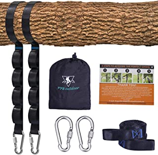 pys Tree Swing Straps Kit-Two Adjustable (20loops Total) Straps Hold 2000lbs Two Heavy Duty Carabiners (Stainless Stell),Easy & Fast Swing Hanger Installation to Tree, 100% Non-Stretch (Black, 5FT)