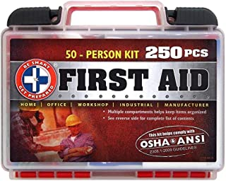 """Be Smart Get Prepared 250Piece First Aid Kit, Exceeds OSHA Ansi Standards for 50.."
