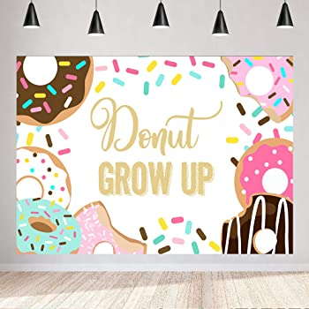 Colors Donuts Birthday Banner Party Decoration Backdrop
