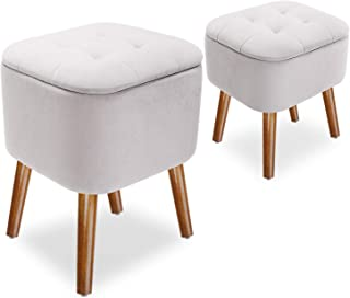 Leopard Grey Ottoman Storage Stool Set with Wooden Legs, Square Ottoman Storage Chairs with Removable Lid, Set of 2