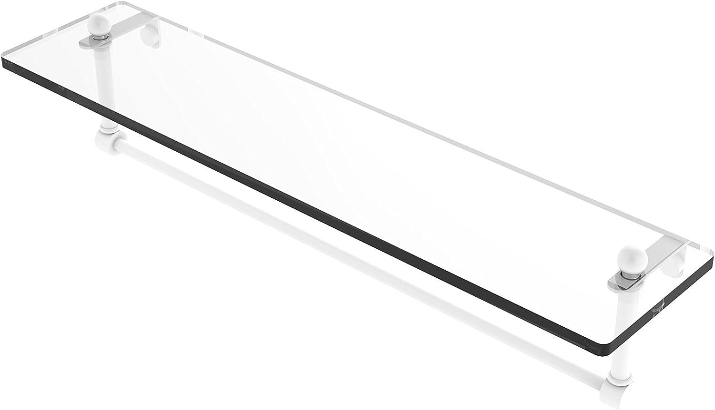 Allied Brass PR-1 22TB-WHM 22 Inch Glass Vanity Shelf with Integrated Towel Bar