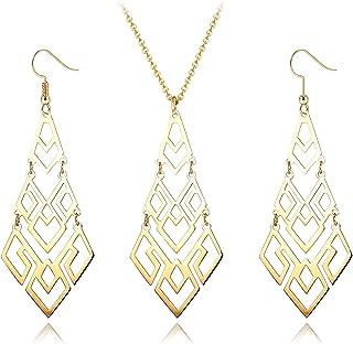 HANPABUM 1 juego de collar con colgante de acero inoxidable y pendientes colgantes para mujer, color dorado y plateado