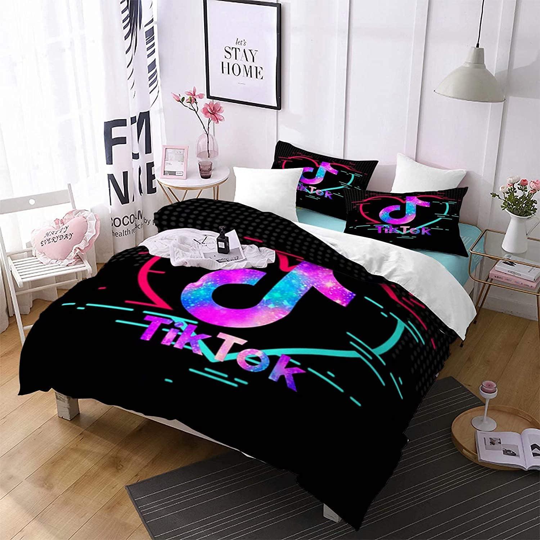 Wudli 3 Pieces Cheap mail order sales TIK-TOK Duvet Cover King Japan's largest assortment Bed Size Printing 3D Set