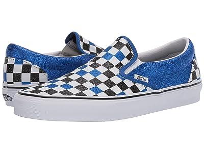 Vans Classic Slip-Ontm ((Glitter Checkerboard) Princess Blue/True White) Skate Shoes