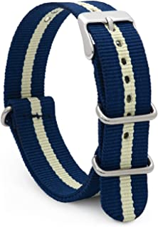 Speidel NATO Style Watch Band 20mm Woven Military Style Nylon Strap with Heavy Duty Stainless Steel Keepers and Buckle-Multiple Color Options