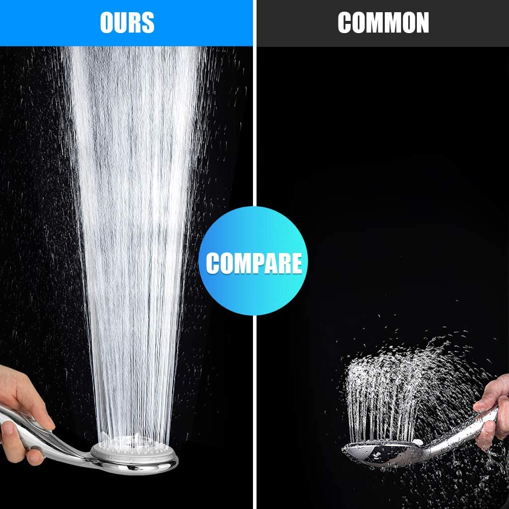 Ahorro de agua a alta presi/ón superficie cromada con cinco modos de ducha con manguera de PVC de 2M GAVAER Cabezal de ducha ducha de mano con interruptor independiente garant/ía de por vida
