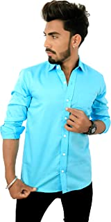 REBANTA Men's Solid Casual Shirt Aqua Blue Pure Cotton