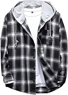 KLJR Men Fashion Hooded Loose Fit Plaid Long Sleeve Button Down Flannel Shirts