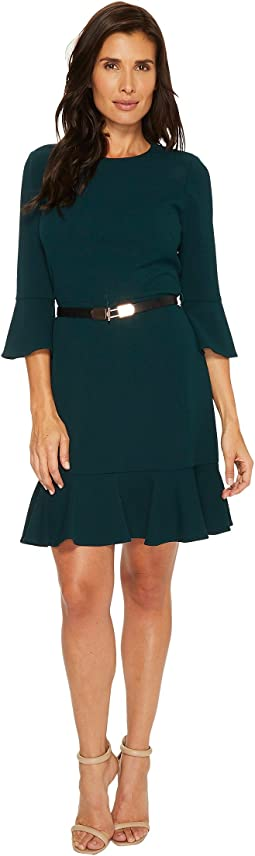 Ivanka Trump - Scuba Crepe Flutter Sleeve Flutter Hem Belt Dress