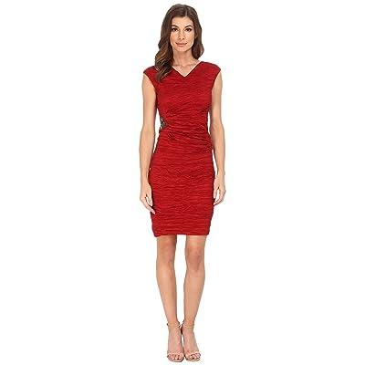 Calvin Klein Cap Sleeve Sheath (Red) Women
