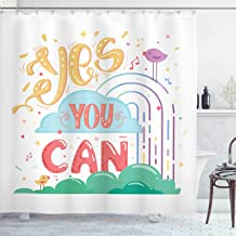 Ambesonne Quotes Decor Collection, Yes You Can Cheerful Encouragement Birds Singing Musical Notes Keys Image Print, Polyester Fabric Bathroom Shower Curtain Set with Hooks, Blue Yellow Purple