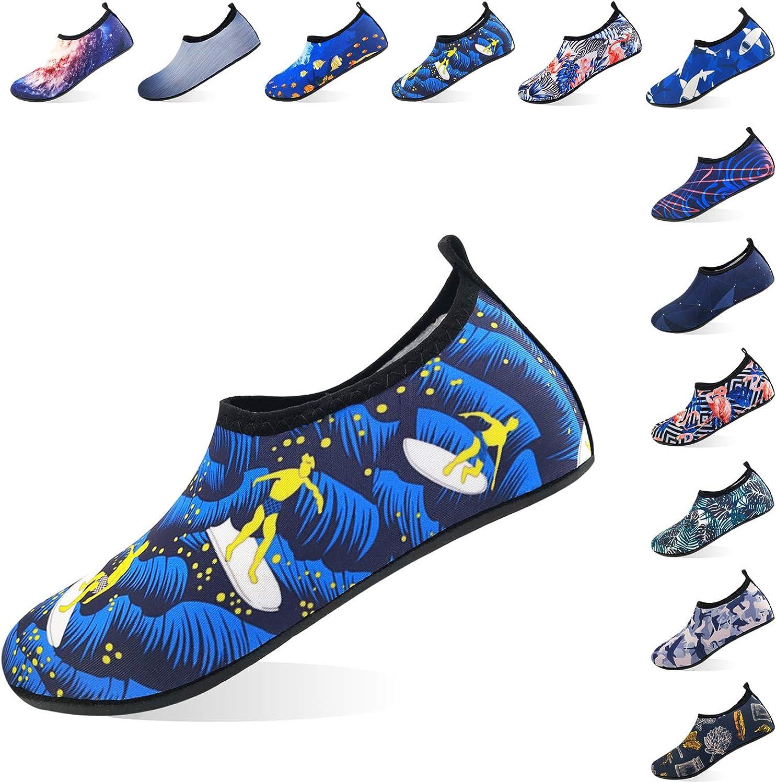 Jjyee Water shoes for Women and Men Barefoot Quick Dry Aqua Socks Slip on for Beach Swim Pool Surf Yoga(Surfing,XL 42 43)