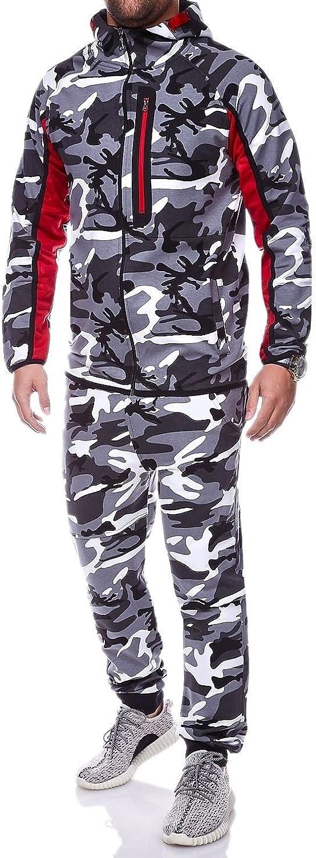 BEHYPE Men's Tracksuit Jogging Pants + Sweatshirt Jacket Camouflage R886