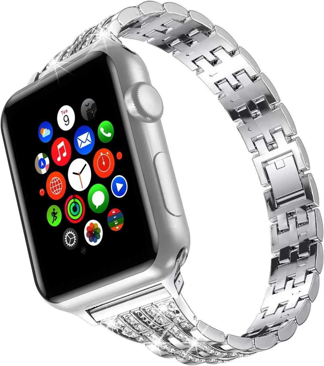 TOWOND Correa Compatible para Watch Correas para Reloj Correa Pulsera de Repuesto de Acero Inoxidable Correa iWatch 5 para Hombre Mujer Watch iWatch Series 6/SE/5/4/3/2/1 Blateado, 42/44mm