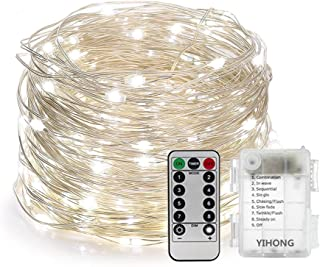 YIHONG 39ft Christmas Fairy Lights Battery Operated, 8 Modes String Twinkle Lights, 120 LEDs Remote Control Silver Wire Firefly Lights for Bedroom Patio Party Christmas Decoration- White