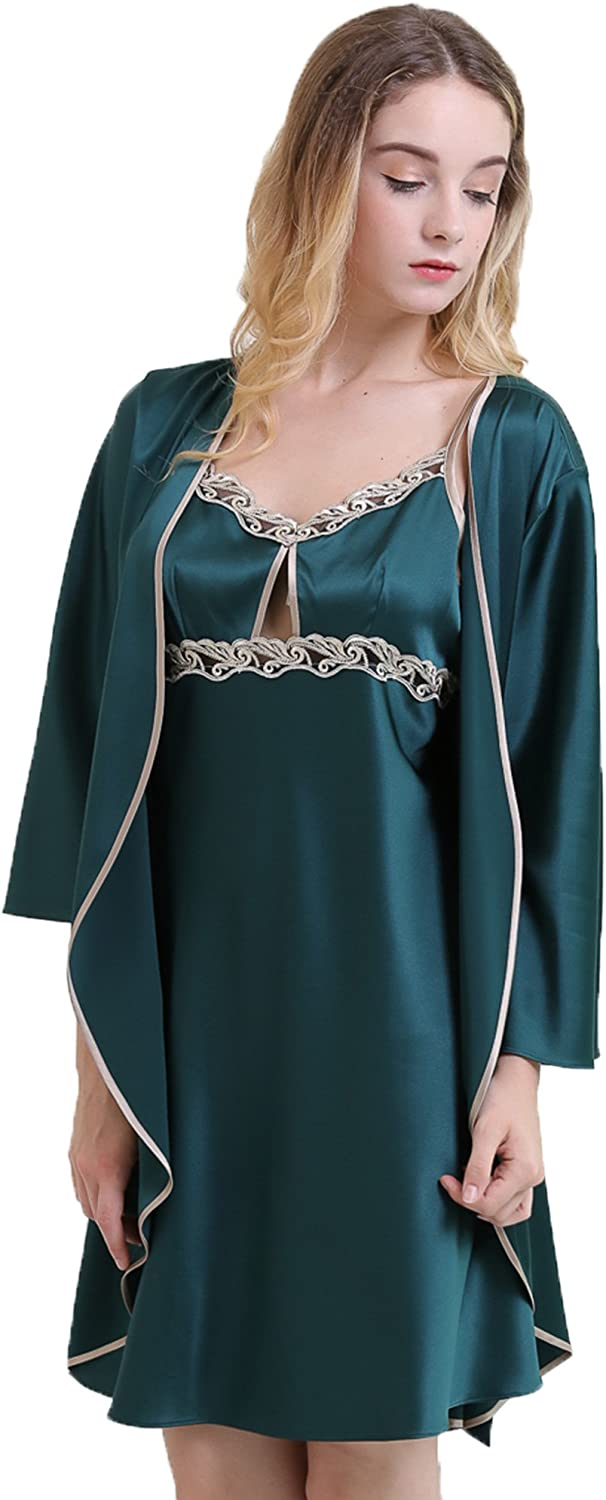 Chesslyre Pure Silk Classic Pajamas Women's Embroidered Robe Nightgown Sets