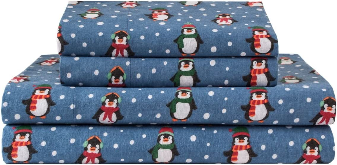 Elite Home Products Deep-Pocketed Winter Nights 100/% Cotton Flannel Sheet Set Full Penguins