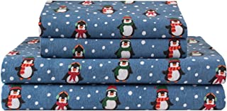 Elite Home Products Deep-Pocketed Winter Nights 100% Cotton Flannel Sheet Set, Queen, Penguins