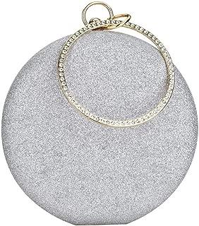 Women's Round Ball Clutch Rhinestone Ring Handle Designer Wristlets Handbag Purse Wedding Party Prom Evening Bag