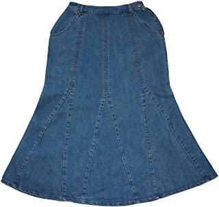 KoKoAilis Casual Plain Women's Plus Size High Waist Below The Knee Length Flared Denim Skirt