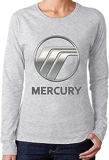 ALEXAKNER Mercury Car Logo Fashion Funny Long T-Shirt O-Neck for Womens Black