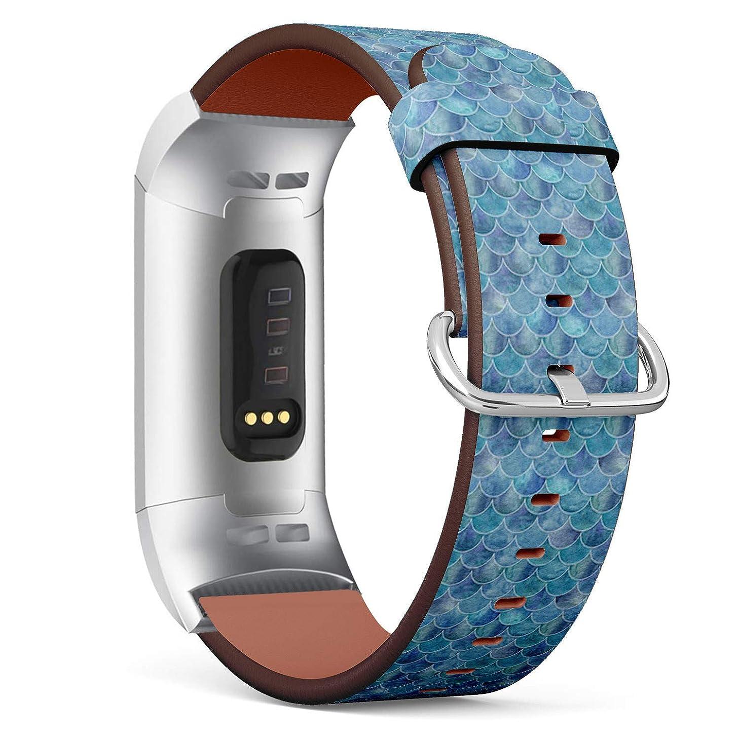 大学思想教授コンパチブル Fitbit Charge 3 / Charge 3 SE - 本革レザーストラップ, 向けのバンド交換ストラップです コンパチブル アップルウォッチ バンド (釣りルアー)