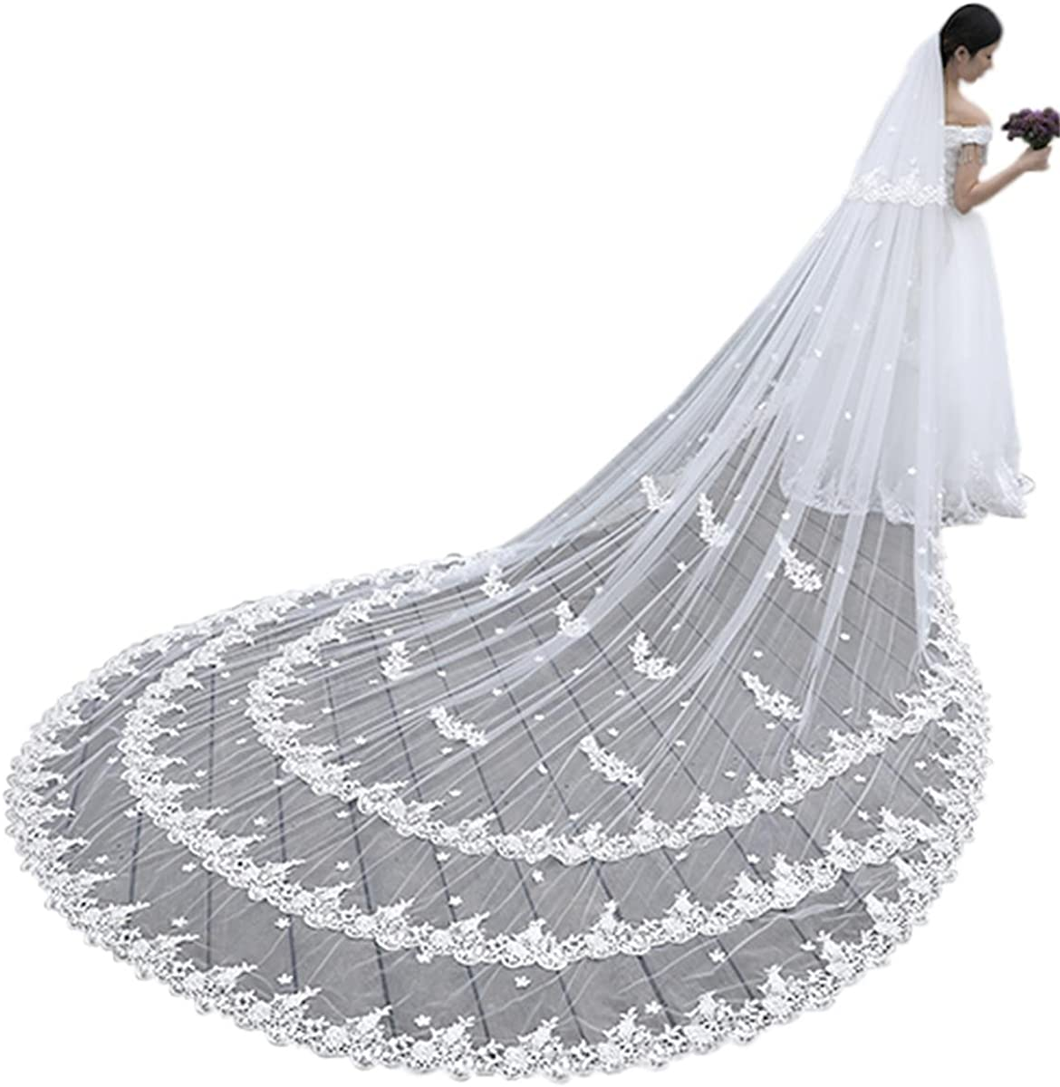 Wedding Bridal Veil 4M 2T Lace Applique Edge Long With Free Comb