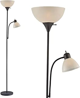 """Adjustable Floor Lamp with Reading Light by Light Accents - Susan Modern Standing Lamp for Living Room/Office Lamp 72"""" Tall - 150-watt with Side Reading Light Corner Lamp (Black)"""