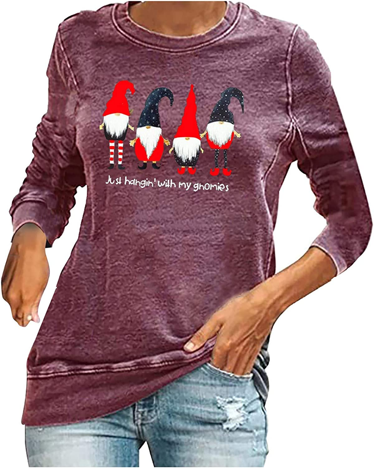 Awolf Christmas Sweatshirts for Women Cute Funny Ugly Santa Just Hangin with My Gnomies Pullover Crewneck Sweater Outwear
