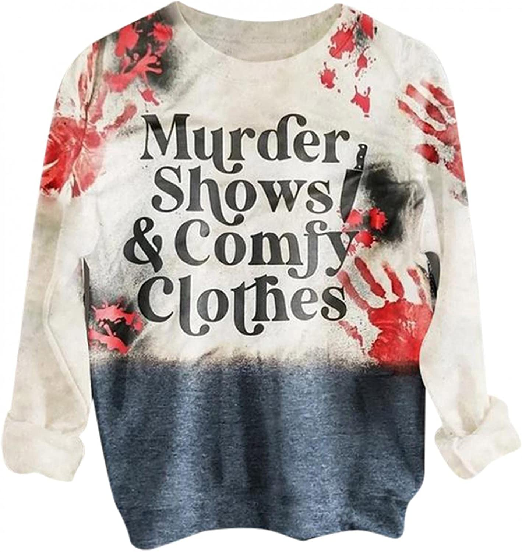 FABIURT Sweatshirt for Women,Women's Long Sleeve Round Neck Sweatshirts Tunic Tops Tie dye Letter Pullover Tee Shirts