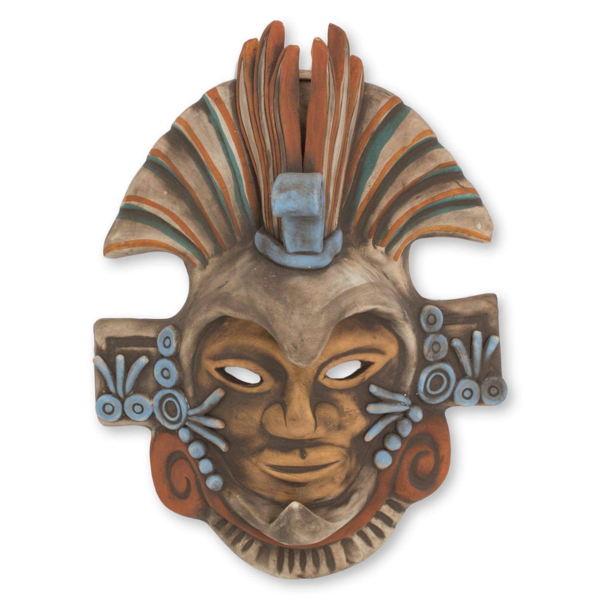 Novica Decorative Archaeological Large Ceramic Mask Earthtone Aztec Eagle Warrior Home Kitchen