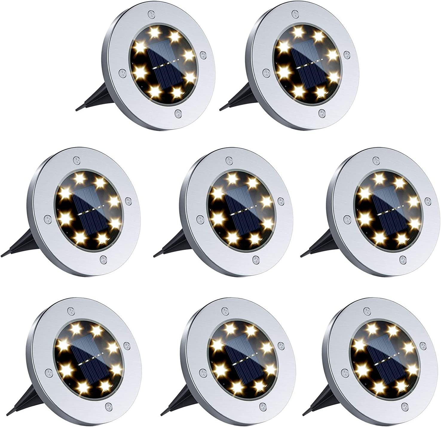 Dersoy 8-LED 8-Pack Garden Pathway Solar Ground Lights  $15.49 Coupon