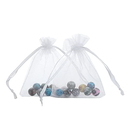Anleolife 50pcs White 3x4 Organza Bags Wedding Sheer Organza Favor Bags Jewelry Drawstring Pouches Dresser Drawers