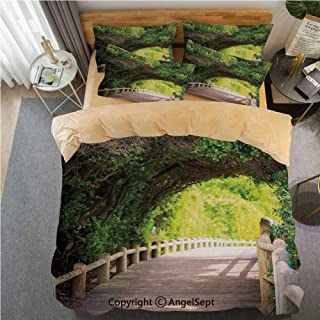 SfeatrutMAT Crystal Velvet Duvet Cover Set 3 Pieces,Forest,Nature Boardwalk Through Green Archway Bridge Foliage Trees Sunny Summer Day,Soft Bedding Set for Winter Warm Twin Size,Khaki