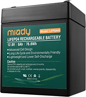 2000 Cycles 12V 6Ah Miady Lithium Iron Phosphate Battery, Rechargeable LiFePo4 Battery, Low Self-Discharge and Light Weigh...