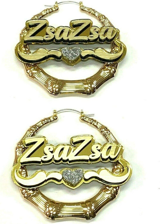 Bamboo 予約販売 Earrings Personalized Custom Gold 特売 Size 2.5 3.5