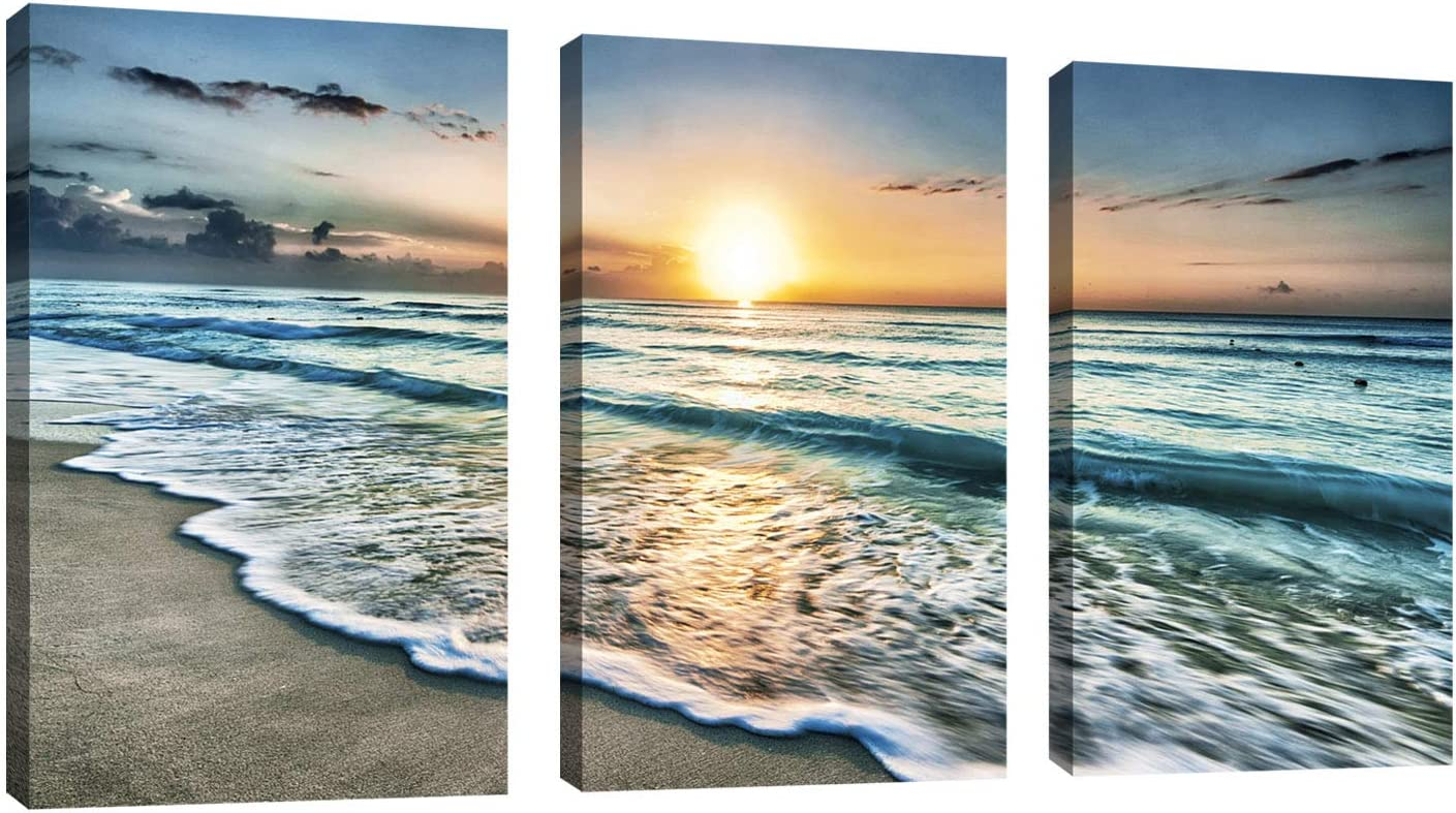 Canvas New mail order Wall Art Beach Sunset Ocean Waves x Discount mail order Pieces Decor 3 1