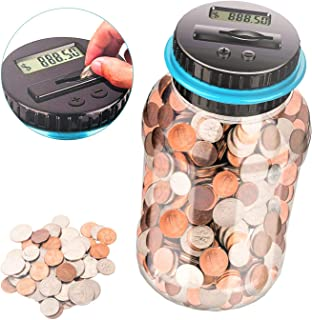 Digital Coin Bank,Money Saving Jar ,Coin Container with LCD,1.8L Large Piggy Bank for Adults,Kids,Girls,Boys,As a Birthday Gift
