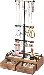 Keebofly Jewelry Organizer Metal & Wood Basic Storage Box - 3 Tier Jewelry Stand for Necklaces Bracelet Earrings Ring Carbonized Black