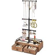 Keebofly Jewelry Organizer Metal & Wood Basic Storage Box - 3 Tier Jewelry Stand for Necklaces...